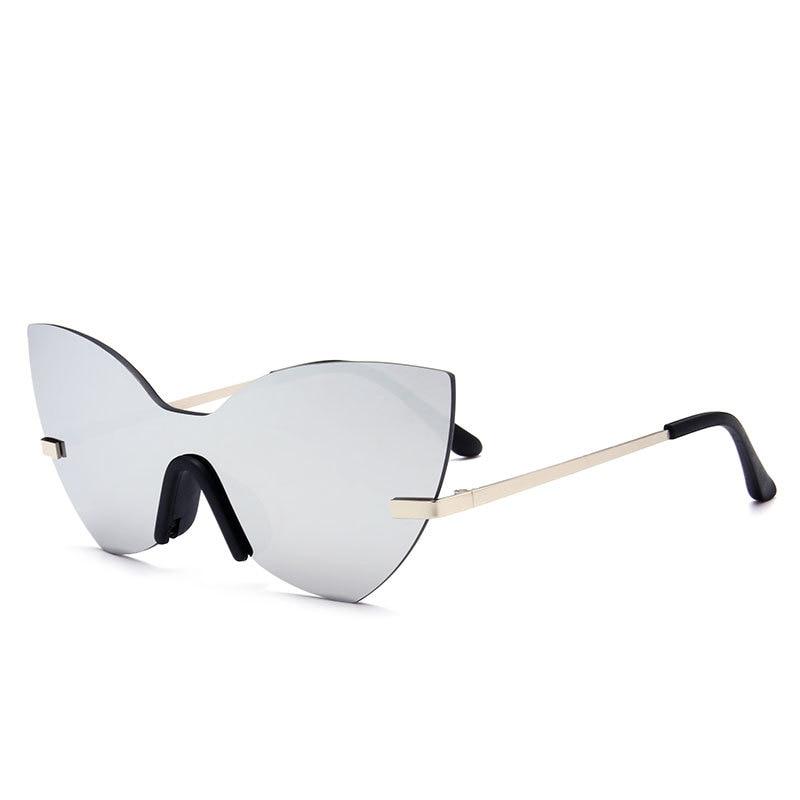 Italian Brand Design Cat Eye Womens Sunglasses Models Catwalk Sun glasses One-piece Reflective Fashion Popular Trendy Glasses