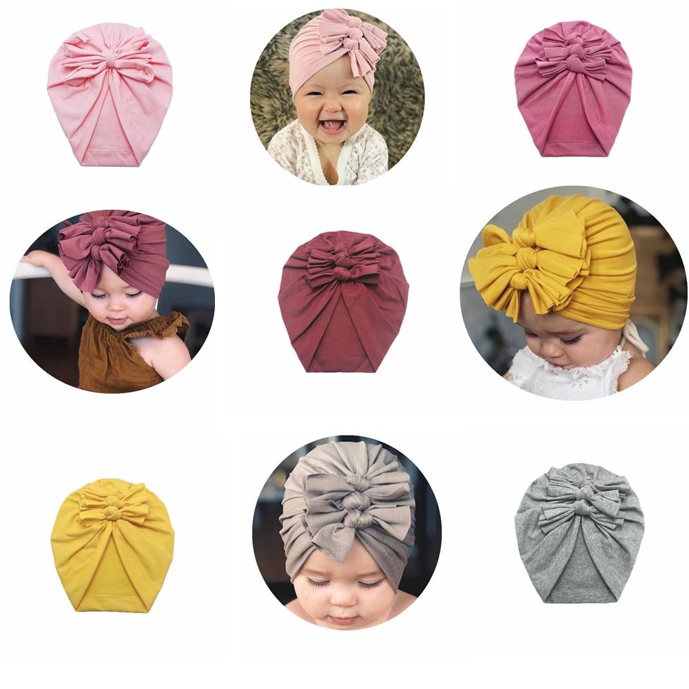 Gorro de bebé yuxic de algodón suave con lazo liso, turbante elástico para niñas, gorro, gorros para bebé, accesorios para el cabello