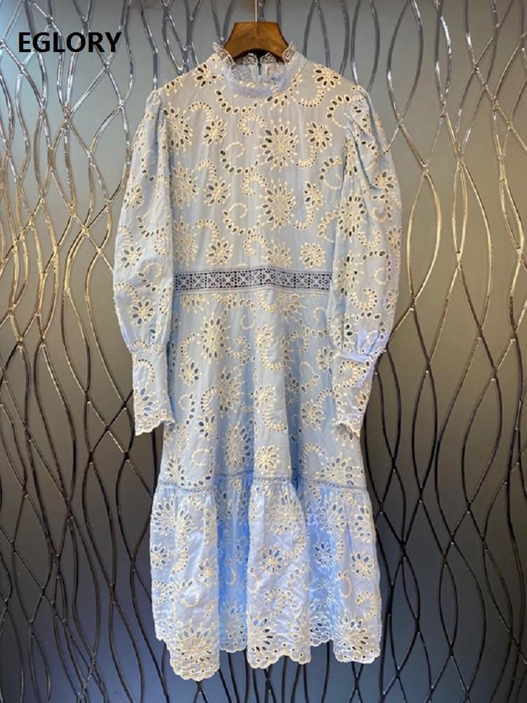 فستان مطرز بفتحات موضة خريف 2020 فساتين حفلات مناسبة خاصة للنساء من جميع أنحاء العالم فستان متوسط الساق أزرق أصفر