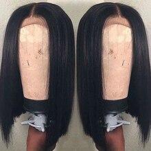 Oxeely kısa bob siyah dantel peruk isıya dayanıklı tutkalsız sentetik dantel ön peruk kadınlar için