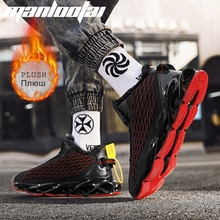 2021 New Fish Scale PLUSH Blade Casual Lace-up Comfortable Running Men Breathable Gym Fly Woven Mesh
