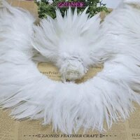 white coque feather rooster feather saddle hackle feather strung 6 8 natural chicken feather trimming cock ribbons for dress