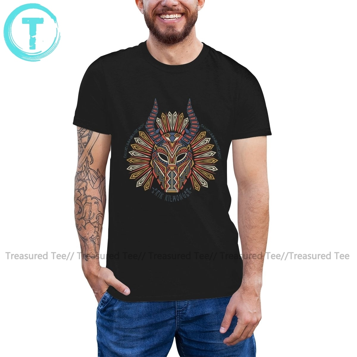 Camiseta Killmonger Black Panther merik Killmonger Tribal 6xl imprimir camiseta hombres 100 algodón camiseta divertida