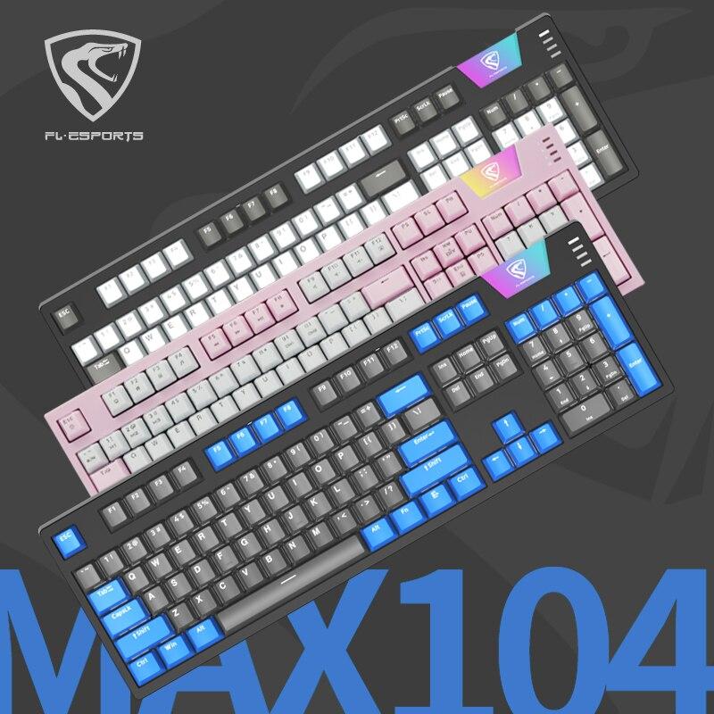 FL · esport MAX104 لوحة المفاتيح الميكانيكية السحرية الخفيفة E-sports الوردي كريستال PBT ريترو مفتاح غطاء كامل مفتاح الصراع الحرة الاتجاه الرجعية