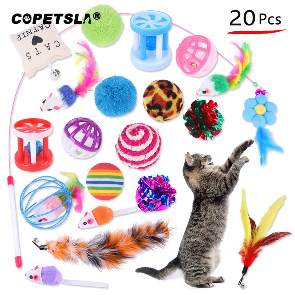 20PCS Cat Toys Kit Collapsible Tunnel Cat toy Fun Channel Feather Balls Mice Shape Pet Kitten Dog Cats Interactive Play Supplies