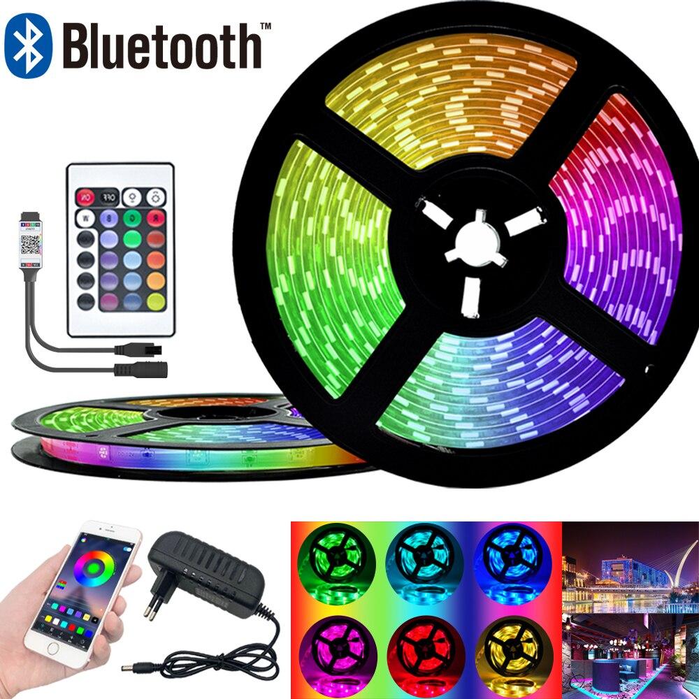 Tira de luz LED RGB SMD 2835 cinta Flexible cinta de luz led RGB 5M cinta de diodo DC 12V + Control Remoto + adaptador