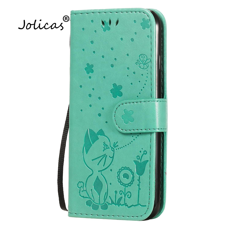 Funda de teléfono Etui para iPhone 7, funda verde de cuero PU...