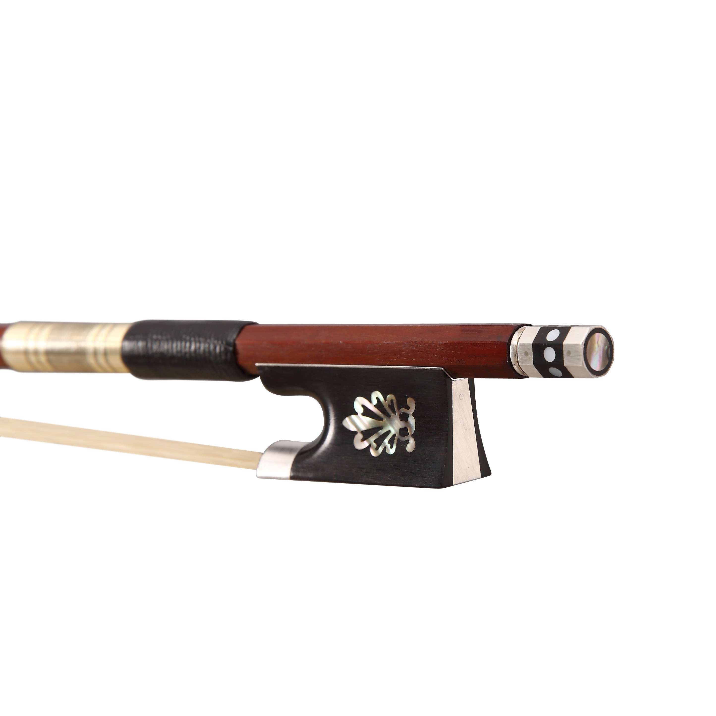 Free Shipping Pernambuco Round Violin Bow with Ebony Flower Frog and Silver Parts FP992B enlarge