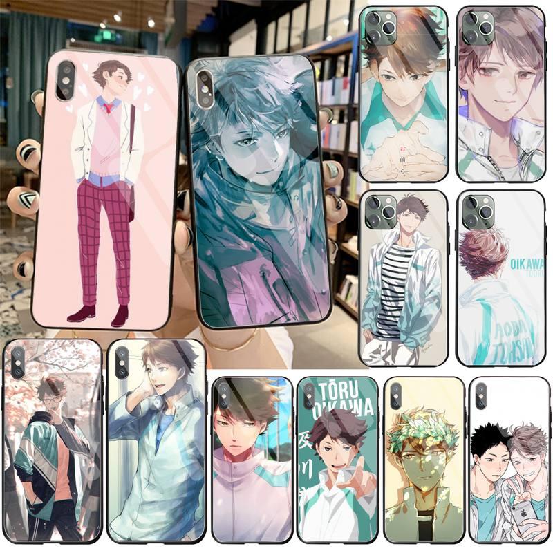 HPCHCJHM Oikawa Tooru tee negro caja del teléfono celular de vidrio templado para iPhone 11 Pro XR XS MAX 8X7 6S 6 Plus SE caso De 2020