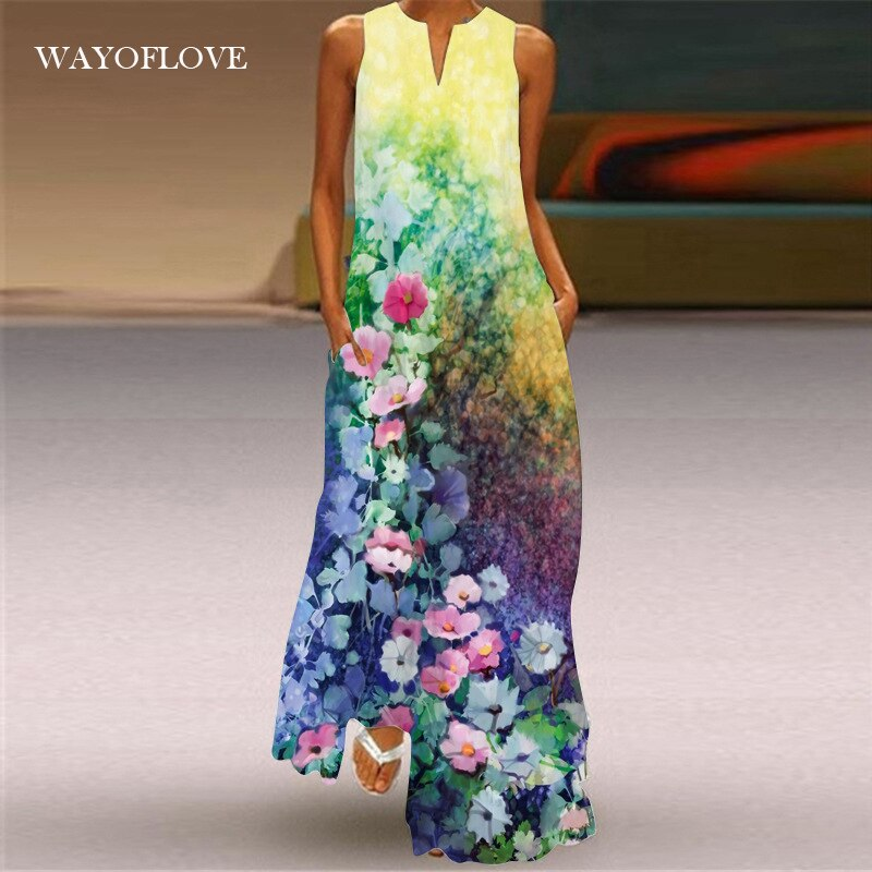 WAYOFLOVE Girl Holiday Beach Dress 2021 Casual Plus Size Long Dresses Summer Woman Sleeveless Floral