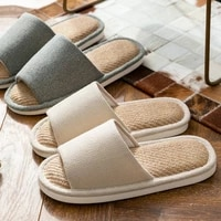 warm slippers cotton and linen material men women couple men women soft sole indoor anti skid silent solid shoes 2021 new
