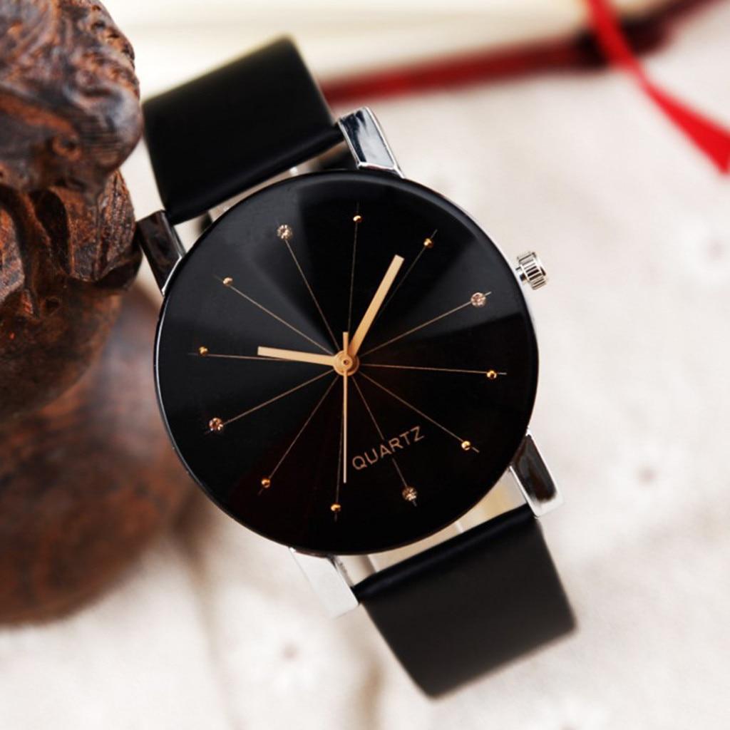 Men Women Leather Strap Line Analog Quartz Ladies Wrist Watches Fashion Watch Women's Watches Brand