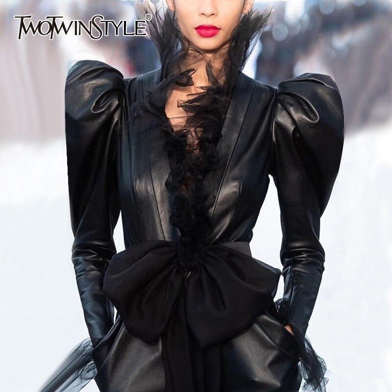 Куртка TWOTWINSTYLE, из искусственной кожи, с длинным рукавом и бантом