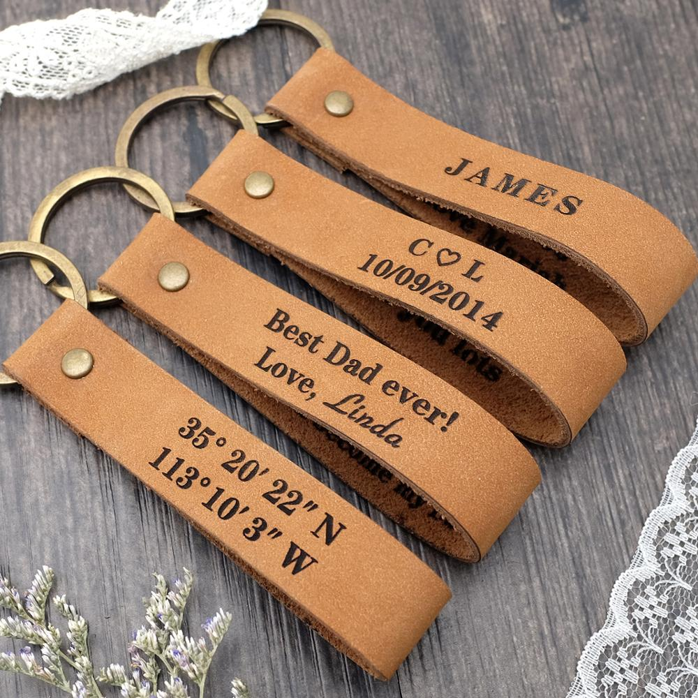Personalized Keychain,Custom Leather Keychain,Gift for Him,Engraved Leather Keyring,Mens Gift,Father's Day Gift недорого