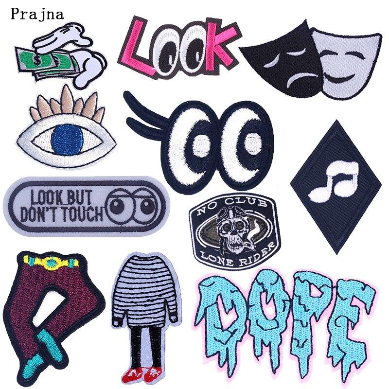Eslogan ojos negros y blancos parche rayas hierro en parches para insignias de tela bordado ropa de pegatinas accesorios ganchos DIY Loop