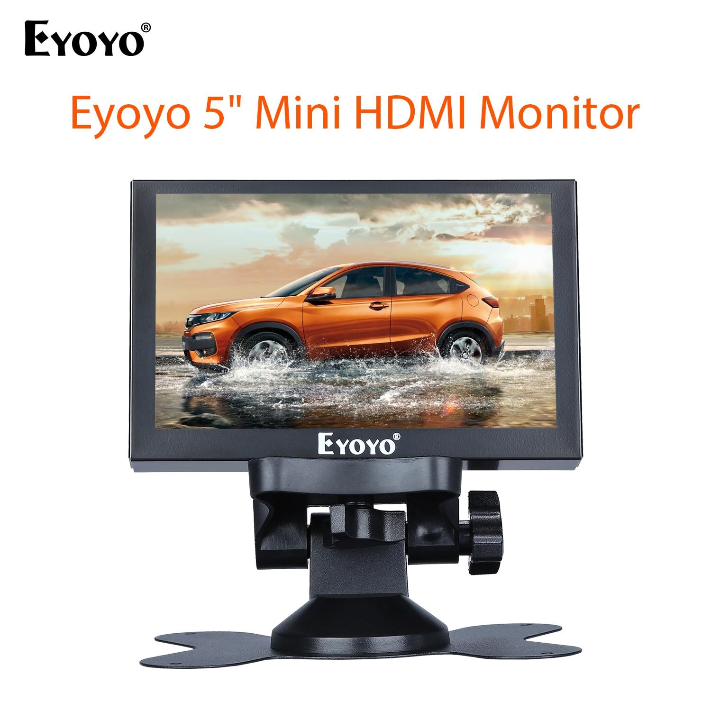 Eyoyo 5 بوصة سيارة شاحنة صغيرة الخلفية رصد الرؤية الخلفية عكس الكاميرا شاشة LCD مع HDMI VGA BNC الأمن النسخ الاحتياطي مسند الرأس العرض
