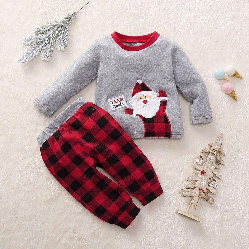 0-18M bebê menino roupas de menina moda inverno dos desenhos animados manga comprida tops + calças xadrez crianças natal vestir novos trajes anos para o miúdo