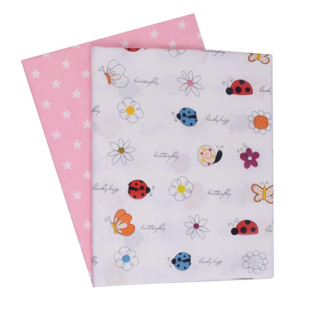 Caracol mariquita mariposa flores 100% de Niños de algodón tela de Patchwork tela de edredón de Material para acolchar grueso para niño y bebé