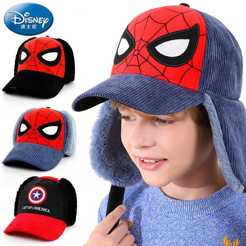 Boné de Beisebol Quente das Crianças Disney Homem-aranha Chapéu Infantil Capitão América Meninos Inverno Trovão Pato Língua Boné