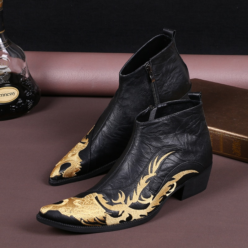 كريستيا بيلا موضة جديدة كبيرة الحجم أشار تو الرجال كاوبوي أحذية بوت قصيرة الذهبي التطريز الجلد الحقيقي الذكور حفلة حذاء من الجلد