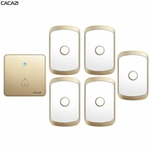 CACAZI Home Wireless Doorbell 300M Remote CR2032 Battery Waterproof 1 Transmitter 5 Receiver 60 Ring