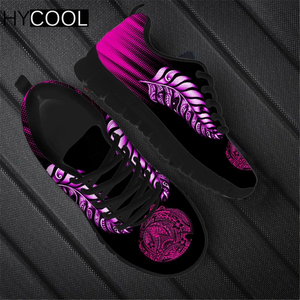 HYCOOL-Zapatillas de deporte con estampado de hojas polinesianas para Mujer, zapatos planos...