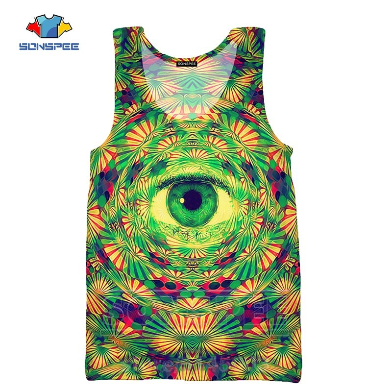 Men Vest 3D Print Psychedelic Dizziness Funny Women Sweatshirt Unisex Undershirt Men's Tank Tops Sleeveless O Neck Pullover C105