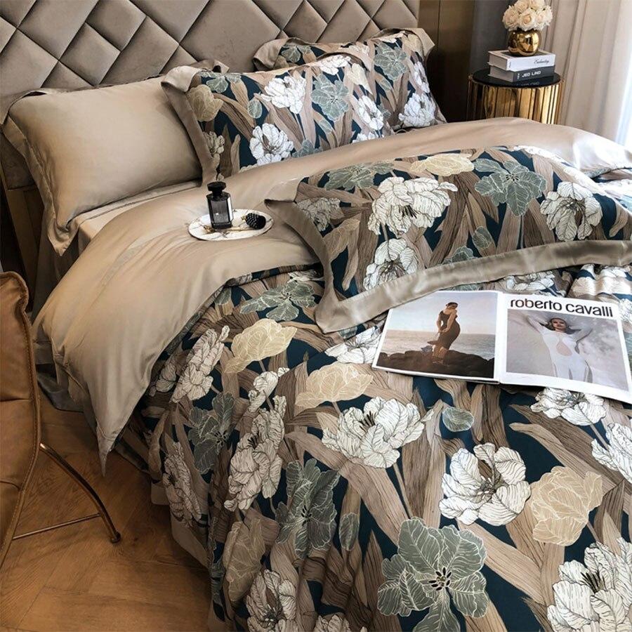 الأوروبي خمر طقم سرير زهرة الرعوية الكبار ، كامل الملكة الملك 60s مريحة المنسوجات المنزلية ملاءات كيس وسادة غطاء لحاف