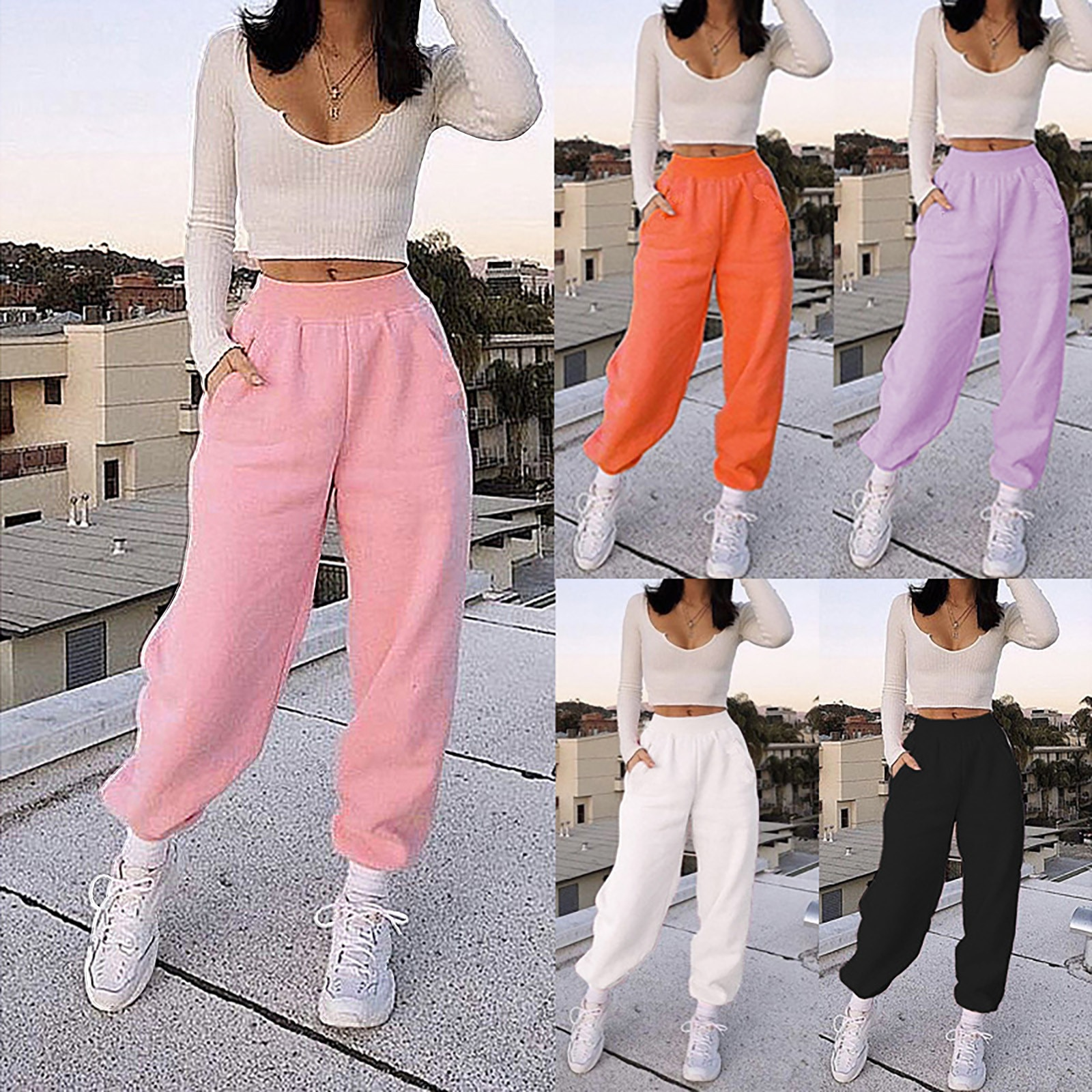 Fashion casual Sweet and lovely solid color sports pants high waist warm and comfortable Women Sweat
