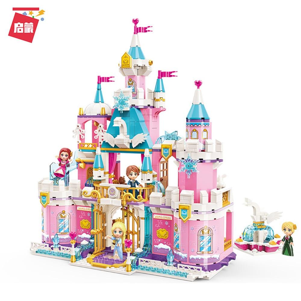801 pçs princesa leah neve cisne castelo amigos série conjunto mini figuras educacionais diy blocos de construção brinquedos para meninas criativas