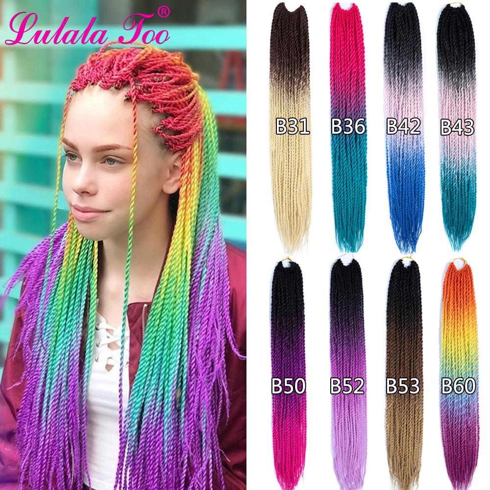 Trenzas de ganchillo de pelo senegalés de 24 pulgadas, 30 raíces/Paquete de pelo trenzado sintético para mujer, gris, azul, Rosa