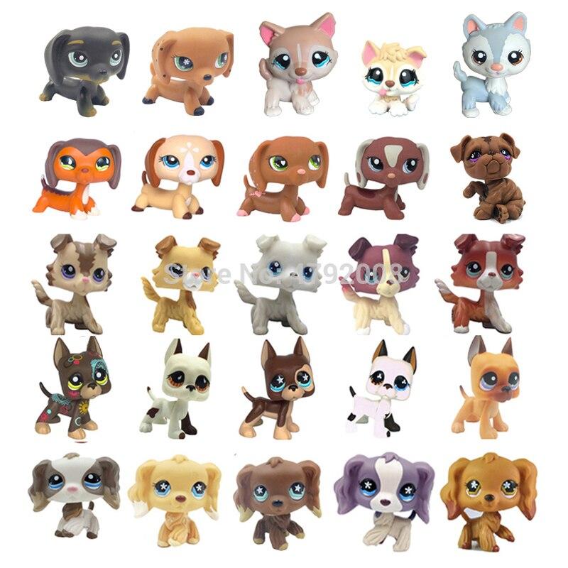 Jouets LPS chat Rare Animal animalerie, Collection originale ancienne de figurines, Stands chien teckel Collie, grand danois Husky