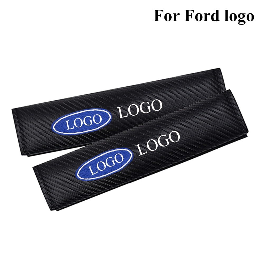 Carbon Fiber Fashion Car Safety Seat Belt Cover Auto logo safety Seatbelt Shoulder Pads car styling accessories for Ford