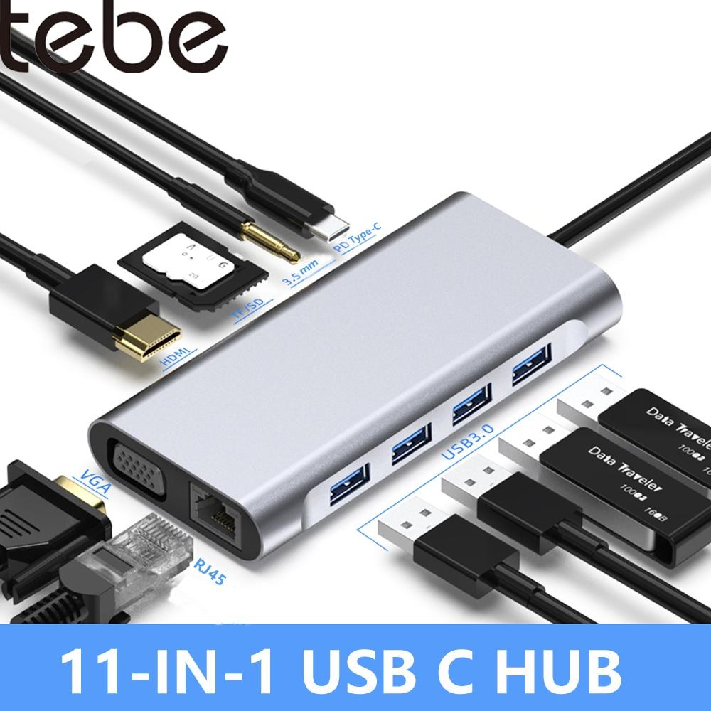 Tebe 11 في 1 USB C HUB Type C إلى 4K HDMI متوافق VGA RJ45 USB3.0 SD/TF PD شاحن سريع لماك بوك برو USB-c Hub الخائن