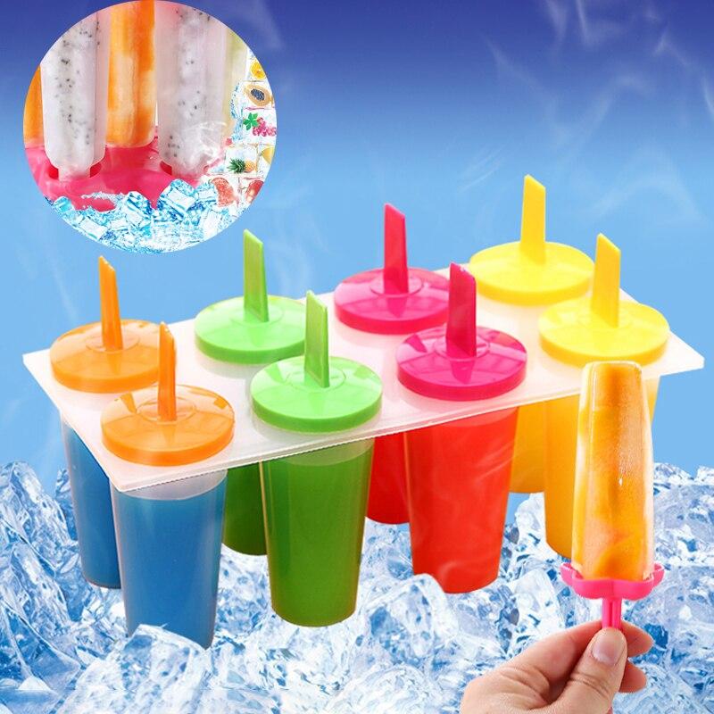Popsicle Formen Maker Eis Form 8 Zelle Form Wiederverwendbare Sicher Material Durable Tablett Am Stiel Pan Eis Form Pop Formen Tablett küche