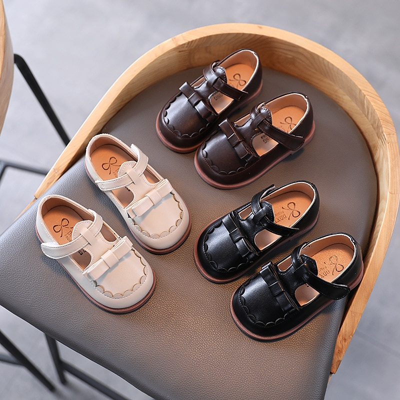2021 New Spring Butterfly Toddler Shoes Girl Luxury Designer Student School Leather Shoes Girls Floral Border Kids Shoes D12191