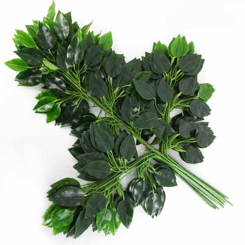 12 pçs banyan folha de árvore folhas ramo flores artificiais de seda para casamento decoração do hotel escritório em casa