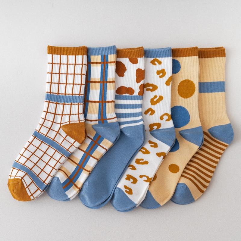 Meias de algodão cor combinando ins azul listrado xadrez maré meias femininas harajuku acessórios meias mulher sox meias coloridas
