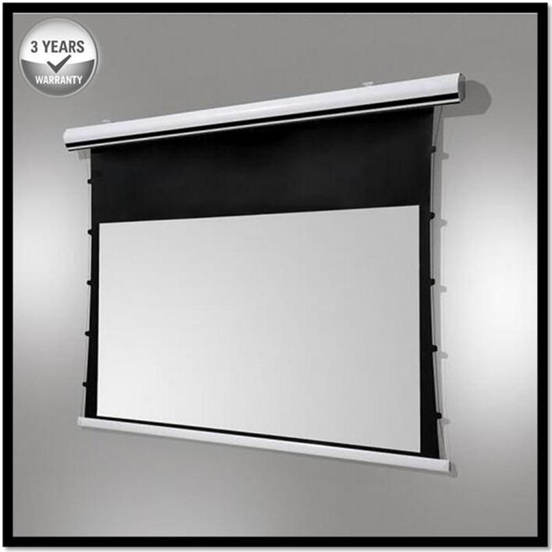 Premium Tab-Spanning Acousticpro, 43 Videoformat 4K/8 Kultra Hd Elektrische Geluid Transparante Geperforeerde Geweven Projector Screen