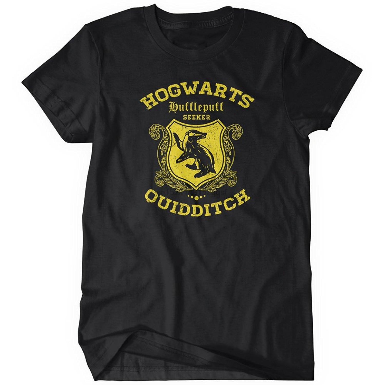 100% camisetas de verano de manga corta novedad Hufflepuff Quidditch camiseta divertida para hombre adulto algodón Camisetas Tallas S-5xl