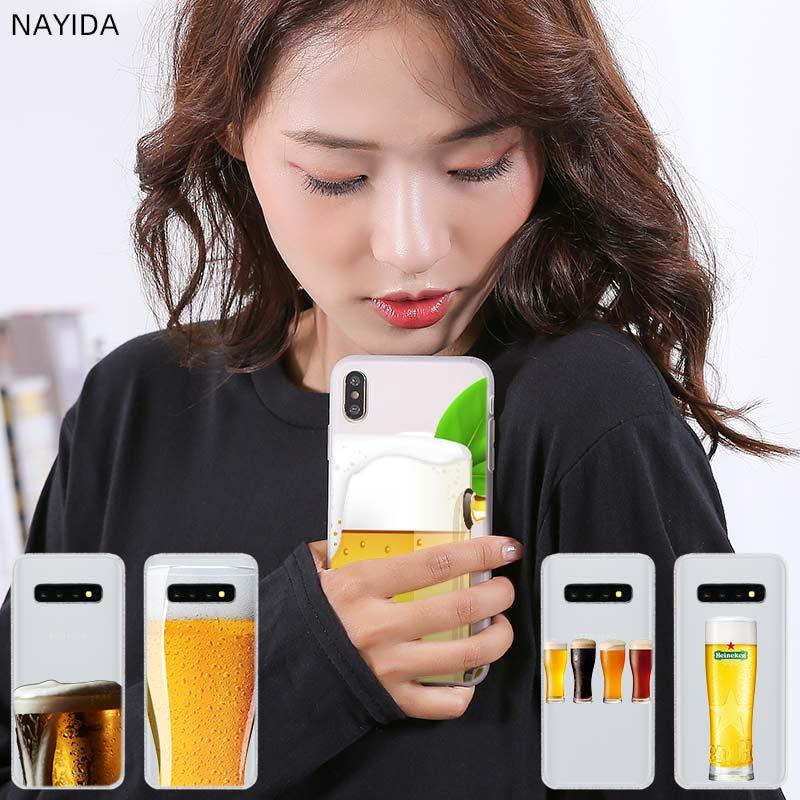 Patrón de silicona suave TPU funda de teléfono para Samsung Galaxy S20 S5 S7 S6 Edge S8 S9 S10 Plus Nota 10 vaso de cerveza