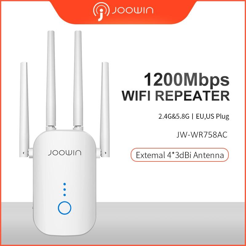 Joowin AC1200 2,4G & 5,8G двухдиапазонный 1200 Мбит/с Wifi повторитель сигнала с 4 внешними антеннами Дальний диапазон JW-WR758AC
