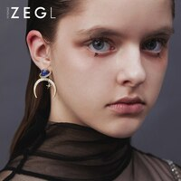 ZENGLIU Designer Starry Sky Ear Stud Female Temperament Planet Earrings Non-mainstream Crescent Earrings Star Moon Earrings