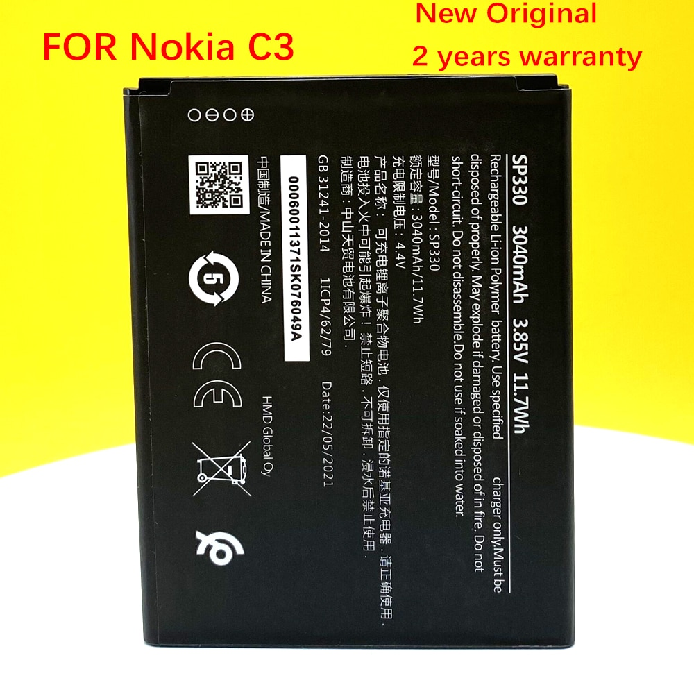 New Original 3040mAh SP330 Battery For Nokia C3 2020 TA-1258 Mobile Phone