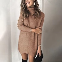 autumn 2021 pure color women knitted dress casual fashion new knitwear two lapel hollow out soft warm pullover dress sweater fem