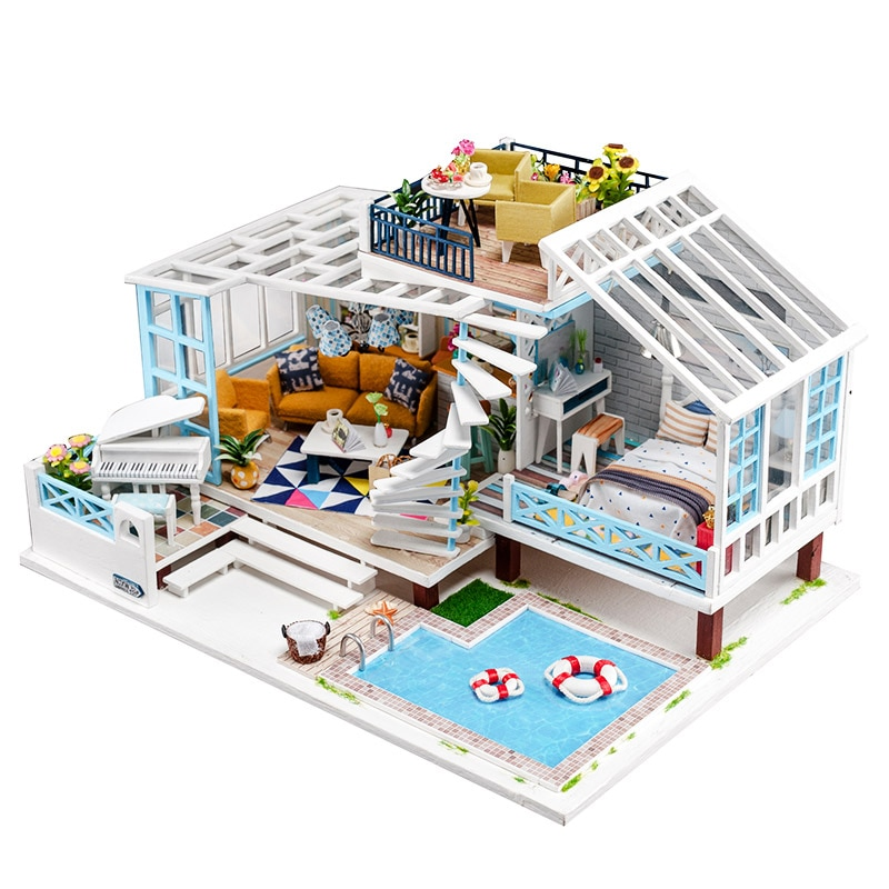 Nuevo Kit de casa de muñecas de gran tamaño muebles de casa de muñecas de madera de moda con piscina hecho a mano juguetes de bricolaje para niños regalo