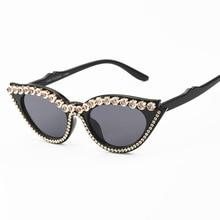 Top Brand Designer Crystal Cat Eye Sunglasses Women Rhinestone Vintage Party Sexy Rays UV400 Sun Gla