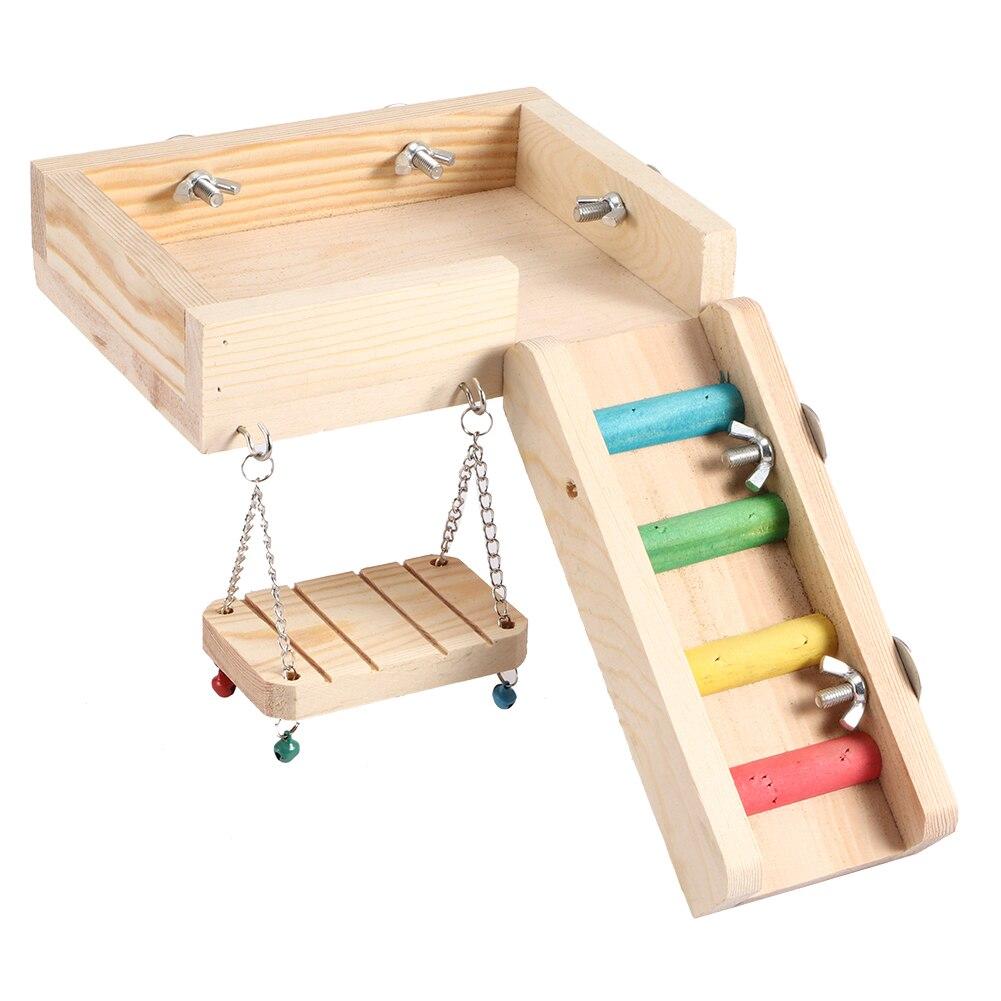 Трехкомпонентная игрушка с множеством функций хомяк; Игрушка-попугай, игрушечная лестница из натурального дерева, набор аксессуаров для до...