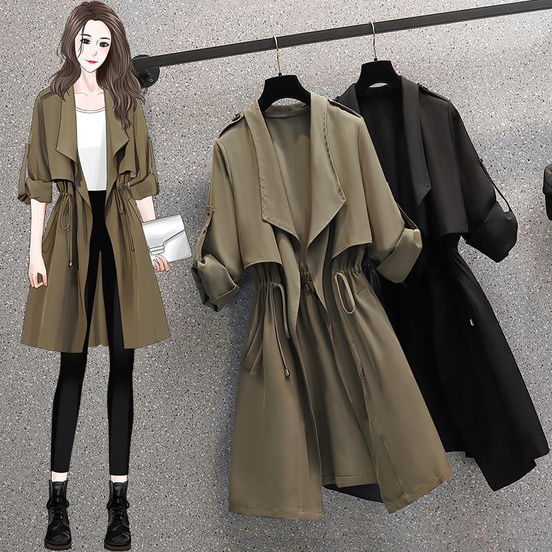 المرأة مرونة الخصر معطف طويل الاتجاه الخريف غير رسمية نصف كم سترة واقية مكتب سيدة الشتاء فضفاض Vintage أبلى معطف