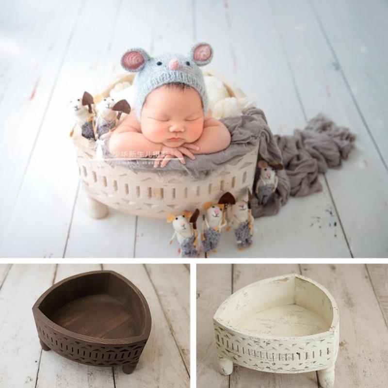 Newborn Photography Props Vintage Engraving Pattern Triangle Basin Studio Fotografia Baby Girl Accessories Boy Posing Bed Basket